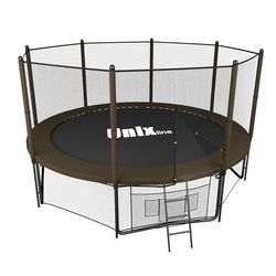 Батут с сеткой и лестницей Unix 12 ft (366м). Внешняя сетка. Black&Brown