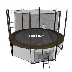 Батут с сеткой и лестницей Unix 8 ft (244м). Внутренняя сетка. Black&Brown