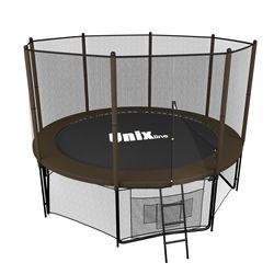 Батут с сеткой и лестницей Unix 8 ft (244м). Внешняя сетка. Black&Brown